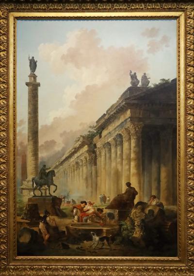 국립서양미술관, 위베르 로베르 '마르쿠스 아우레리우스기마대, 트라야누스기둥, 신전이 보이는 공상 속의 로마경관'