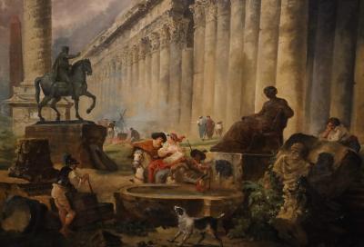 국립서양미술관, 위베르 로베르 '마르쿠스 아우레리우스기마대, 트라야누스기둥, 신전이 보이는 공상 속의 로마경관' 03