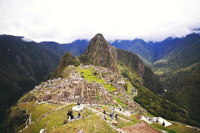 잊혀진 공중도시 마추픽추, 정상의 장엄한 풍경.
