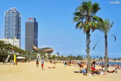 ▲바르셀로네타 해변과 어우러지는 풍경.
