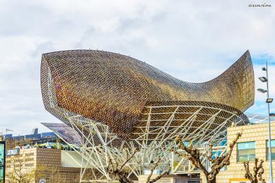 [5] 스페인 바르셀로나 황금 물고기(Gold Fish, Barcelona, Spain)  1992년 바르셀로나 올림픽을 기념해 지어진 대형 조형물입니다.  바르셀로나 카지노 건물 위에 56m*35m 크기로 지어졌으며  황금색 메탈 조각들을 옷감처럼 짜고 엮는 방식으로 제작되었는데요.  덕분에 햇빛이 비치면 아름답게 빛나는 황금색 비늘들을 볼 수 있습니다.