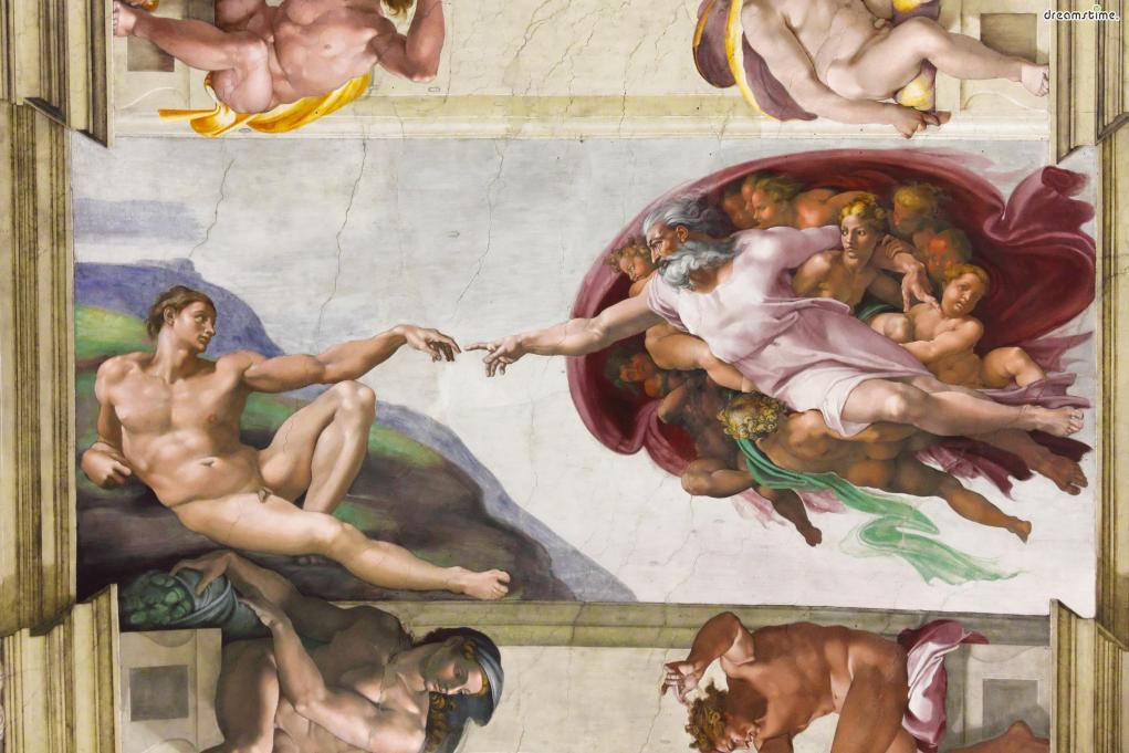 [8] 대표 소장품1  세계에서 가장 유명한 그림 중 하나인 미켈란젤로의 《아담의 창조》.  바티칸미술관에서는 이 그림이 처음 그려진 1511년부터  반세기가 넘는 지금까지 보존되어온 원본 작품을만나볼 수 있다.